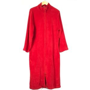 Adonna Intimates & Sleepwear - Adonna Red Plush Zip Front Robe House Coat